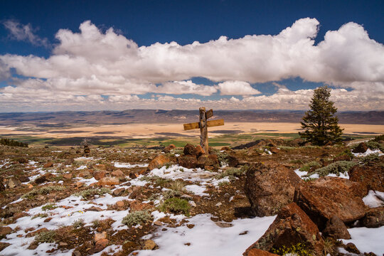 Blue skies over the South Warner Wilderness on the California Nevada border above the desert