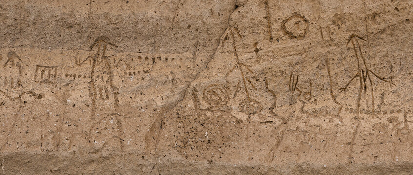 Native Modoc petroglyphs carved in stone at Petroglyph Point, Lava Beds NM
