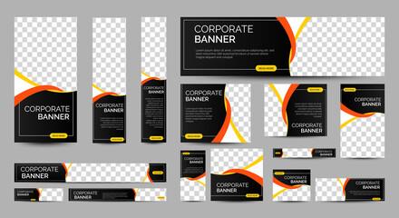Abstract banner design web template Set, Horizontal header web banner. Modern Gradient Black cover header background for website design, Social Media Cover ads banner, flyer, invitation card