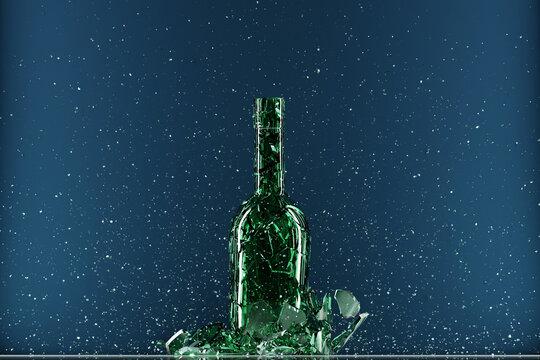 Broken bottle isolated on blue background. 3d illustration