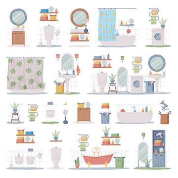 Bathroom or Washroom Interior with Bathtub, Wash Basin and Mirror with Objects for Personal Hygiene Vector Set