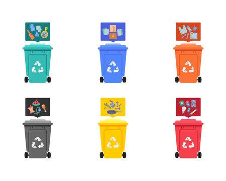 Garbage sorting flat icons set
