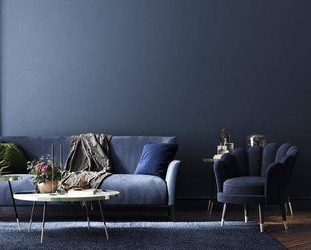 Home interior, luxury modern dark living room interior, blue empty wall mock up, 3d render