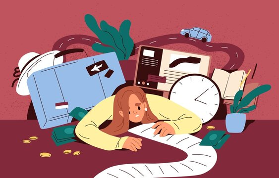 Busy person overloaded with many tasks in to-do list and lot of plans for holiday travel. Concept of multitasking and businesses burden. Woman in stress with multiple problem. Flat vector illustration