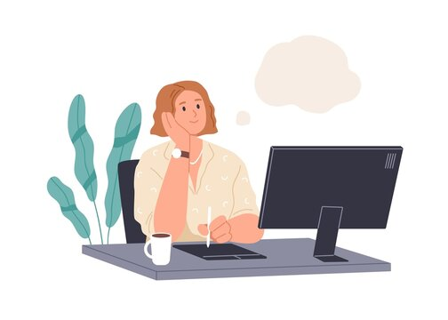 Happy person dreaming at work. Creative woman thinking, imagining, fantasizing at workplace with computer. Thoughtful designer creating ideas Flat vector illustration isolated on white background