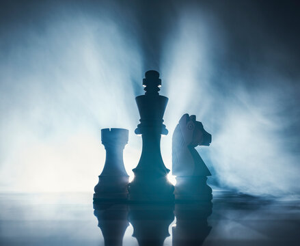 Chess pieces on the chessboard