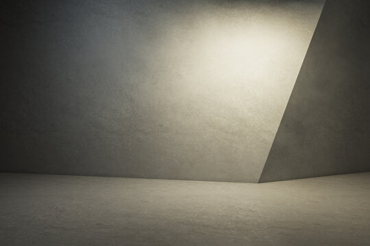 Empty concrete interior with mock up place for your advertisement on wall. 3D Rendering.