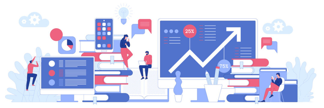 Business process concept. Successful project and financial growth. Employees work, analysis of statistics, management and optimization of tasks. Vector character illustration for banner design