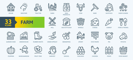 Farm, Farming, Agriculture - thin line web icon set. Contains such Icons as Greenhouse, Haystack, Harvest and more. Outline icons collection. Simple vector illustration.