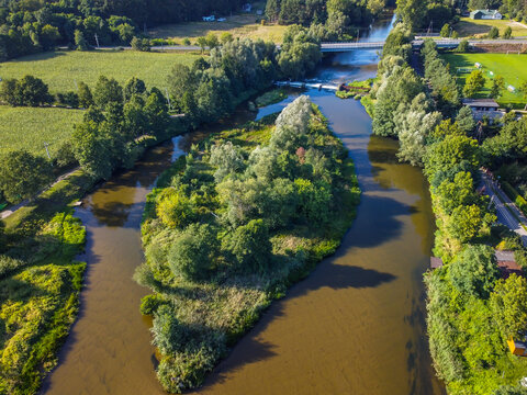 A photo from a drone showing the Warta River in central Poland.