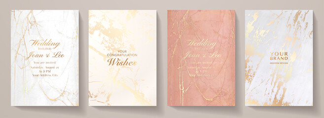 Elegant marble texture set. Luxury vector background collection with white, pink, gold pattern for cover, invitation template, wedding card, menu design, note book design