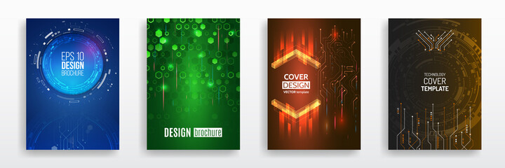 Modern science and digital technology concept. Vector template for brochure or cover with hi-tech elements background. Business layout, futuristic brochures, flyers, placards, presentation.