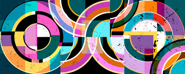 abstract background pattern, with circle ornament, paint strokes and splashes, art in the bauhaus tradition