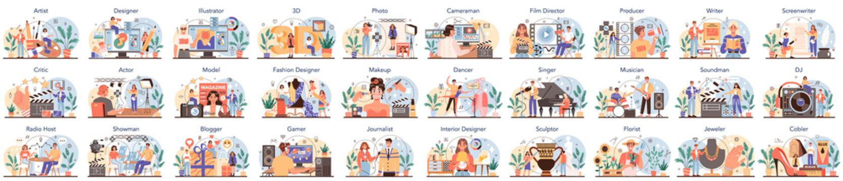 Artistic occupation set. Designer, dancer, artist, musician, florist and sculptor, restorer and make up artist.
