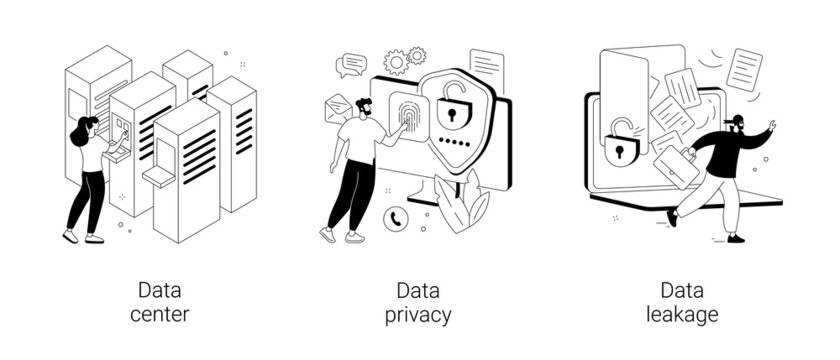Internet privacy abstract concept vector illustrations.