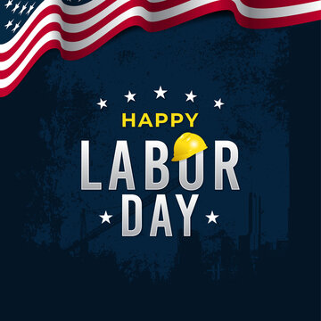 happy labor day greeting vector template for social media post, greeting card, flyer, etc.