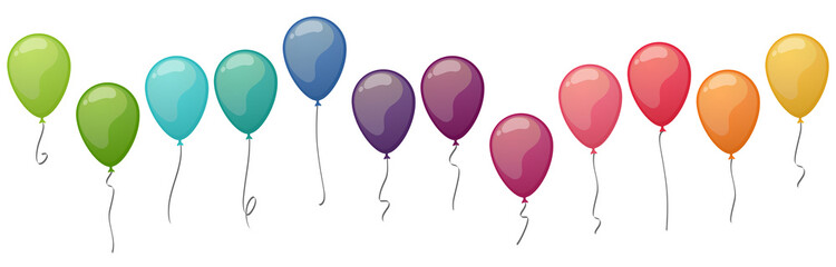 colored flying balloons collection