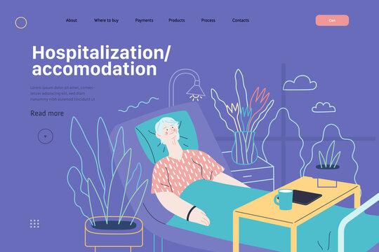 Hospitalization and accomodation - medical insurance web template