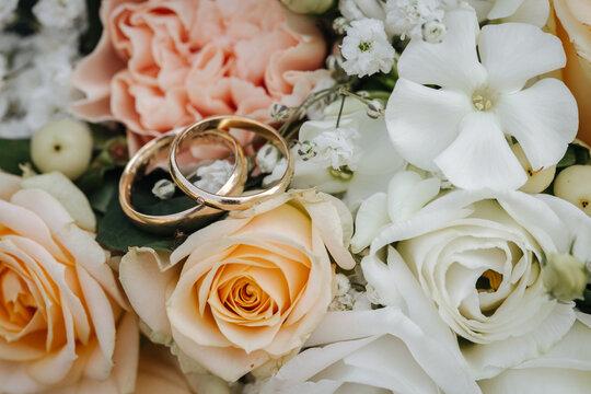 Wedding rings macro close-up