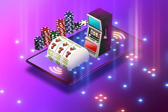 Concept of online casino - 3d rendering
