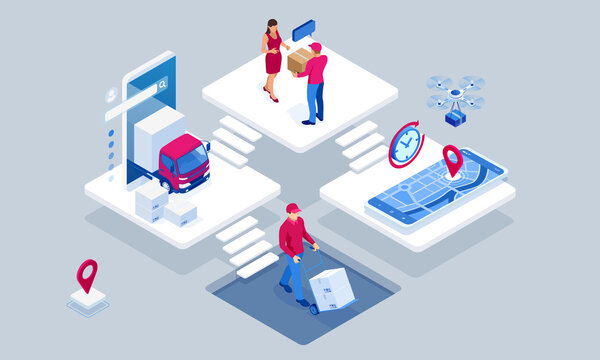 Global logistics network isometric illustration. Isometric Logistics and Delivery concept. Delivery home and office. City logistics. Warehouse, truck, forklift, courier. On-time delivery