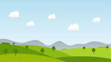 landscape cartoon scene with green trees on hills and summer blue sky with white cloud background