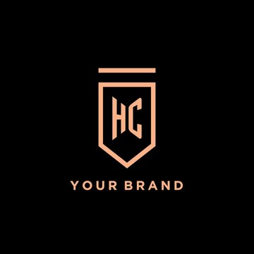 HC monogram initial with shield logo design icon