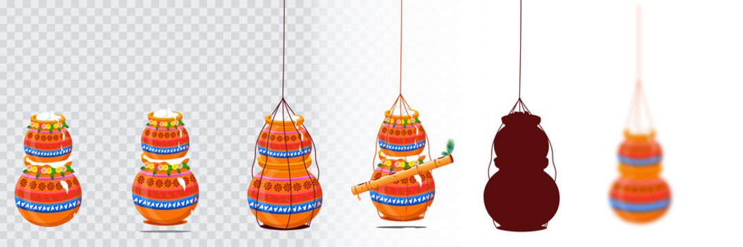 A set of isolated pot designs on a transparent background. Designs are used for Pongal, Krishna Janmashtami and Hindu festival ideas. Vector illustration.