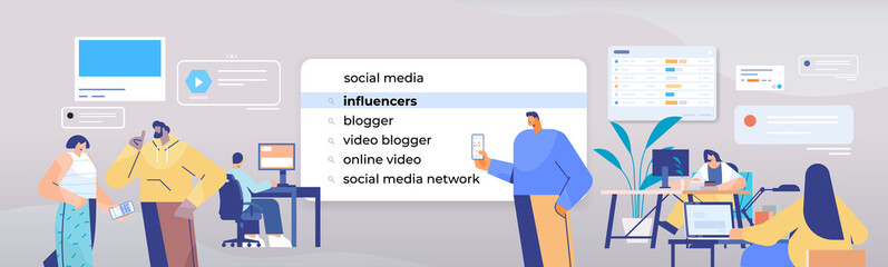 mix race people choosing influencers in search bar on virtual screen internet networking concept horizontal