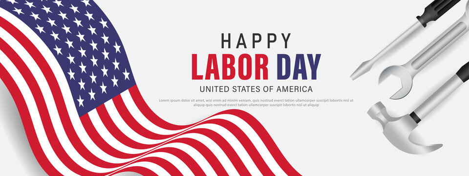 Happy labor day usa banner template design with usa flag and work equipment.