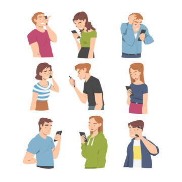 Disappointed with Bad News People Characters Reading Message in Smartphone Vector Illustration Set