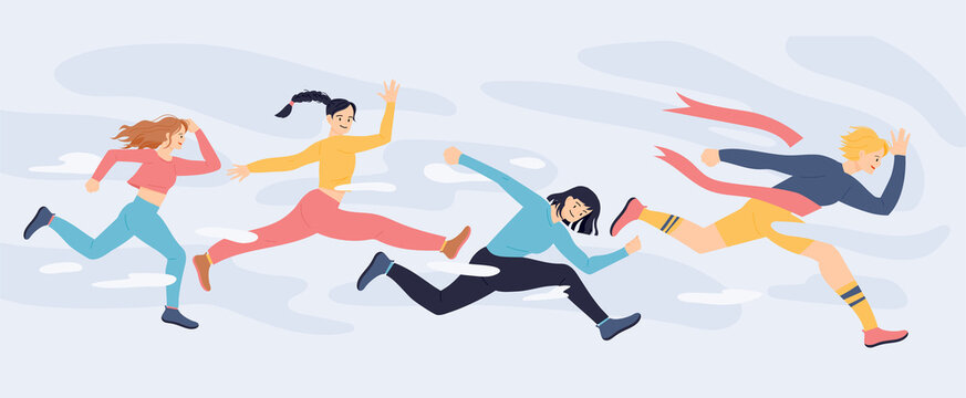 Women are running and competing at high speed. flat design style vector illustration.