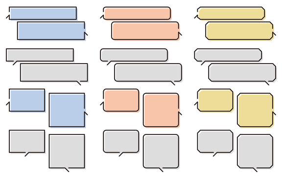 線幅が変えられる会話風のふきだしセット 背景ずらし