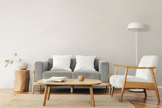 Living room in Scandinavian interior design