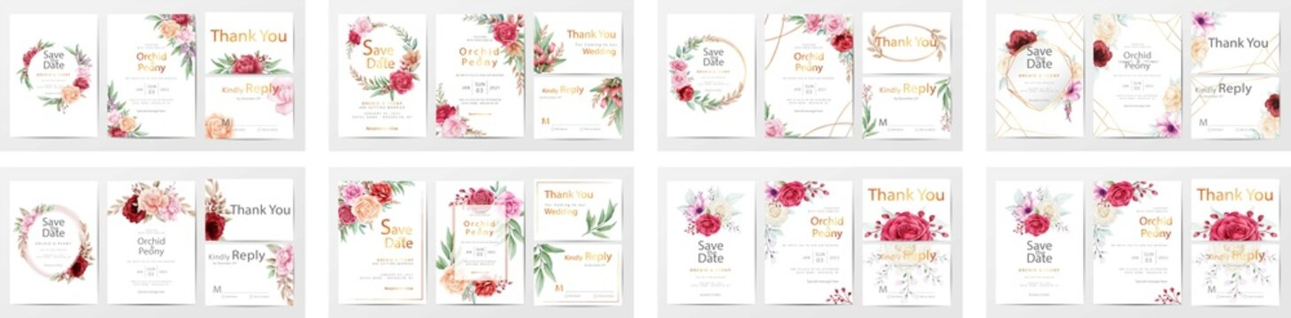 Luxury brochure, cover, wadding card template. Rose  texture, Wedding invite, invitation menu thank you card vector floral. Wedding floral golden invitation card save the date design with pink flowers
