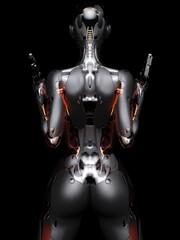 3D rendering illustration sci-fi female robot