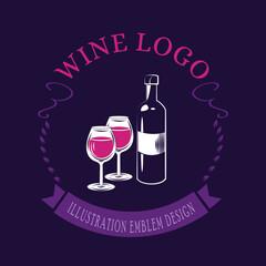 Fototapeta Bottle of wine logo - vector illustration, emblem design on dark background. obraz