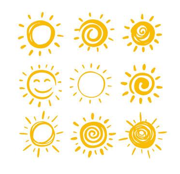 Doodle sun set for summer design.