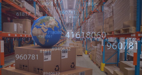 Image of numbers changing over globe and cardboard boxes in warehouse
