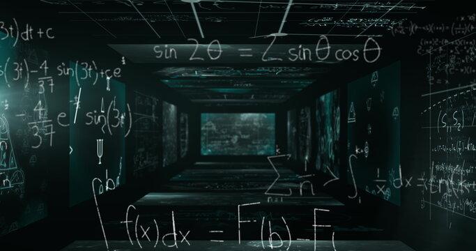Image of mathematical formulae floating on black walls