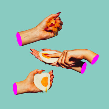 Modern design, contemporary art collage. Inspiration, idea, trendy urban magazine style. Female hands with eggs on light background