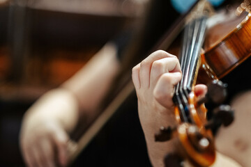 Closeup of a female violinist playing violin at the concert