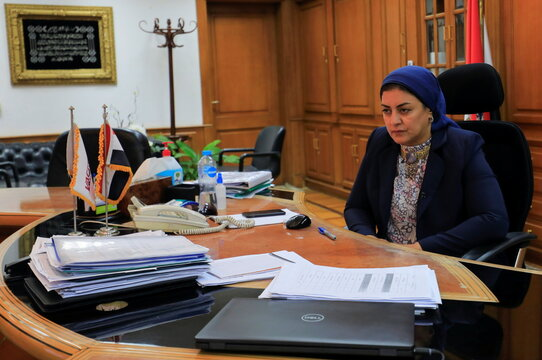 """Dr. Heba Wali, President of the Holding Company for Biological Products and Vaccines """"Vacsera"""" attends an interview with Reuters at her office in Cairo"""