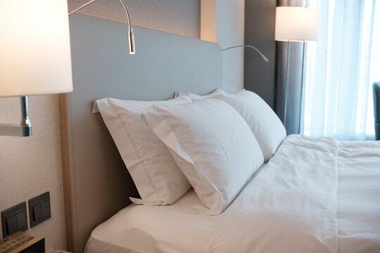 Comfort luxury hotel suite room.