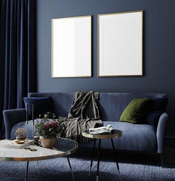 Frame mockup in home interior, luxury modern dark living room , 3d render
