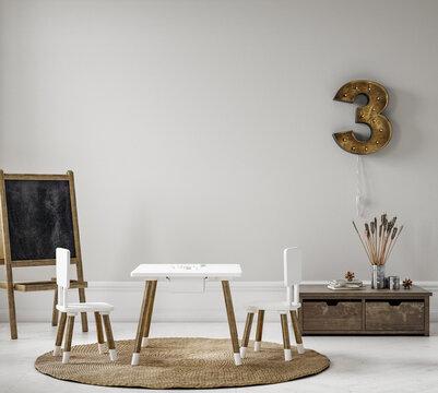 Children playroom with natural wooden furniture, 3D render