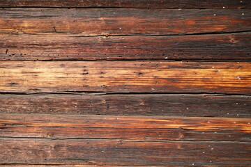 Obraz Deski drewniane poziome brązowe niejednolite - fototapety do salonu