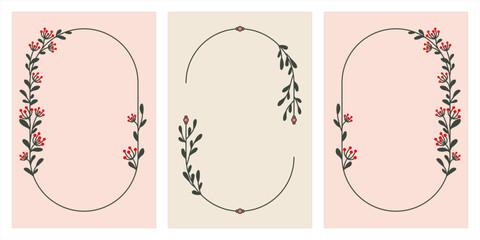 Uniwersalne ręcznie rysowane ramki botaniczne w ciepłych kolorach - szablony idealne na jesienne lub letnie wesele, zaproszenia urodzinowe, baby shower, wzór menu.