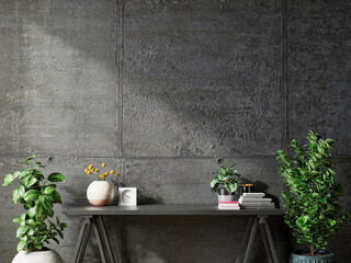 Mockup concrete wall with ornamental plants and decoration item on table.
