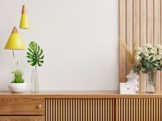 Cabinet mockup in modern empty room,white wall.
